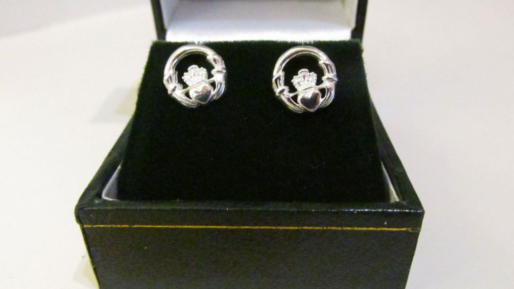 Claddagh Stud Earrings Sterling Silver
